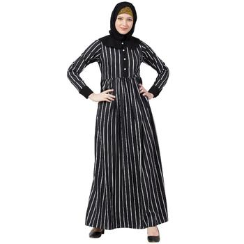Black And White Striped Abaya With Baby Collar