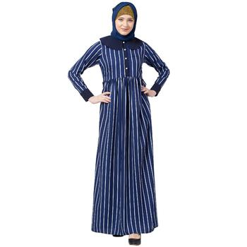 Blue And White Striped Abaya With Baby Collar