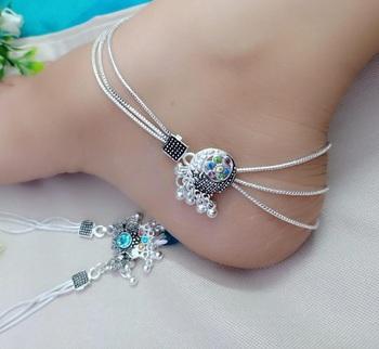 Silver diamond anklets