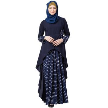Polka Dotted Asymmetrical Dress Abaya- Navy Blue