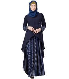 Polka Dotted Asymmetrical Dress Abaya- Navy Blue