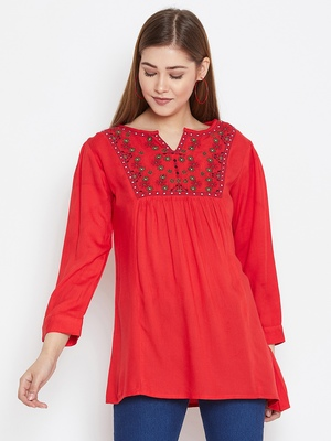 Women Red Color Emrboidered Rayon Top