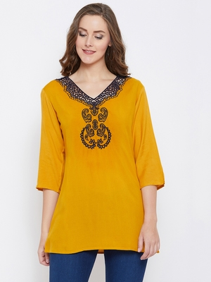 Women Mustard Color Emrboidered Rayon Top