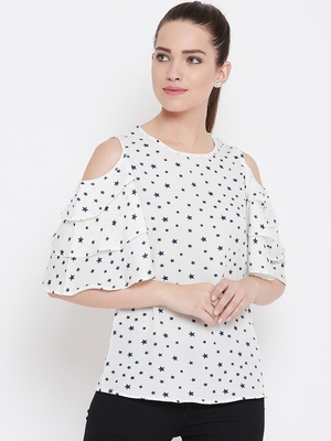 Women White Color Star Printed Crepe Top