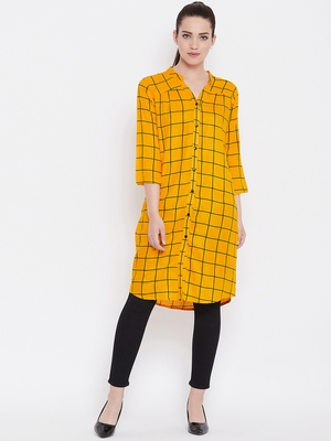 Women Mustard Color Geometric Printed Rayon Tunic
