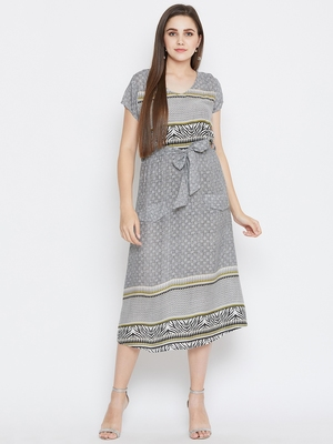Women Grey Color Geometric Printed Tie up Waist Rayon Dress