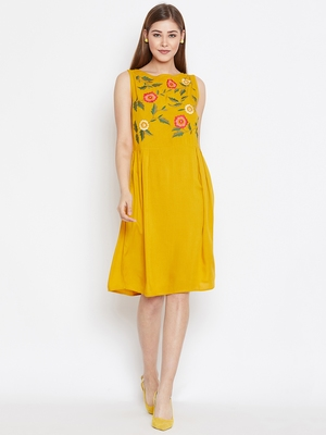 Women Mustard Color Floral Embroidered Rayon Dress
