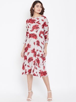 Women White and Red Color Floral Printed Georgette With Cotton Lining Knee Length Dress