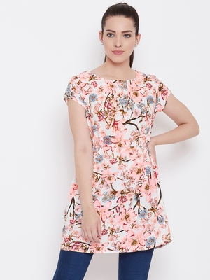 Women Cream Color Floral Printed Knee Length Crepe Dress