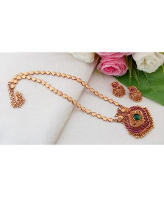 Eye Catching Gheru Polish Necklace with Kemp Stone Peacock Pendant and Matching Jhumkas