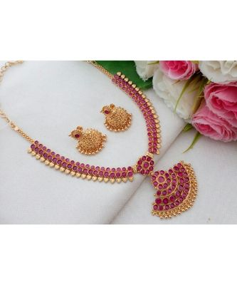 Gorgeous Gold Tone Necklace made out from Ruby Stones with Matching Jhumkas