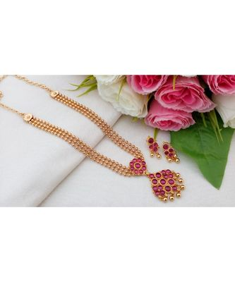 Mezmerising Multi Layer Gold Tone Three Layer Necklace with Ruby Stone Pendant and Matching Ear Rings