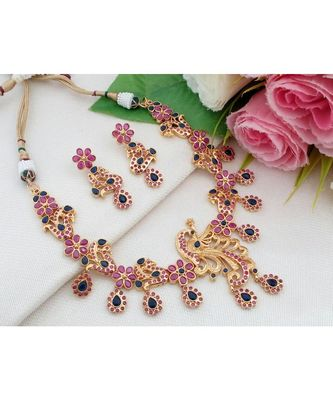 Exquisite Gold Tone Peacock Necklace made out from Ruby & Sapphire (AD) Stones with Matching Ear Rings