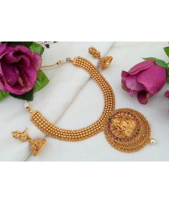 Traditional Matt Gold Finish Necklace with Lakshmi Pendant made out from Ruby Emerald Stones and Matching Jhumkas