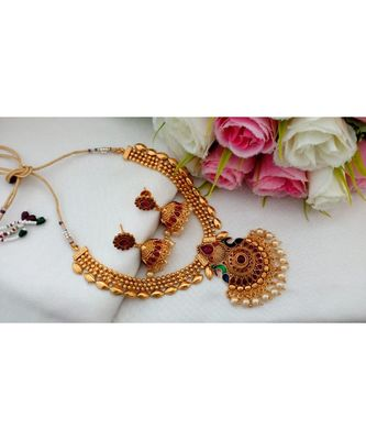 Traditional Antique Gold Finish Necklace with Kemp Stones and Matching Jhumkas