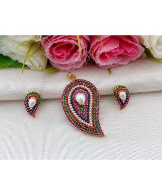 Mezmerising Designer Navratan Stone (AD, Coral & Pearl) Mango Pendant with Matching Ear Rings