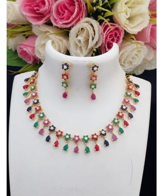 Mezmerising Designer Navratan Stone (AD, Coral & Pearl) Necklace with Matching Ear Rings