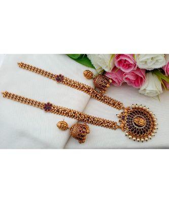 Gorgeous Matt Gold Finish Long Haar with Real Kemp Stone Lakshmi Pendant and Matching Jhumkas