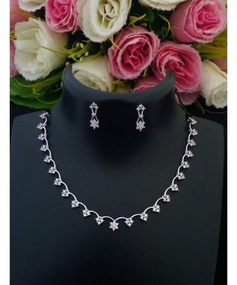 Delicate Party Wear Platinum Finish American Diamond Necklace with Matching Ear Rings