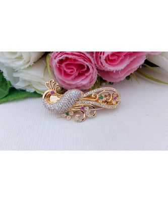 Mezmerising Designer Peacock Hair Clip Embellished by CZ, Ruby & Emerald Stones