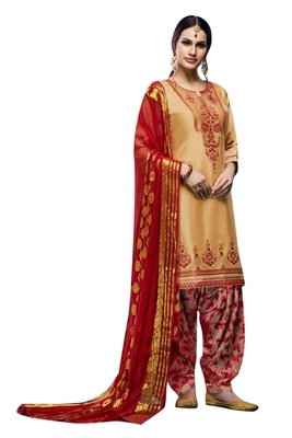 Beige embroidered cotton salwar
