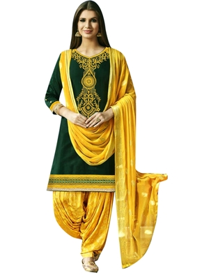 Green embroidered cotton salwar