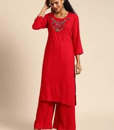 Blissta Women Red Solid Kurta with Plazzo With Hamd Work Detailing