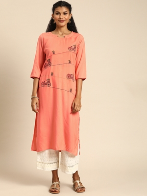 Kimisha Women's Rayon Embroidered Straight Kurti (Peach)