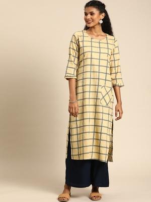 Kimisha Women's Cotton Printed Straight Kurti(Beige)