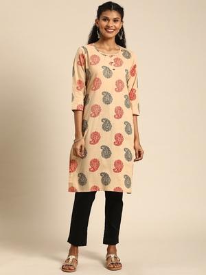 Kimisha Cotton Printed Straight Kurta(Beige)