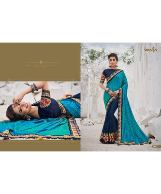 multicolor embroidered faux satin saree with blouse