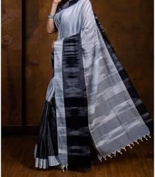 Grey Melange Hand Weaven Khadi Cotton  daily Wear Handloom Saree With Blouse