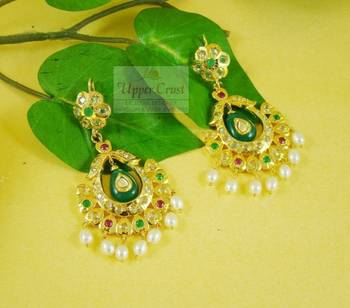 Gold Plated Multi Polki Bali Style Earrings
