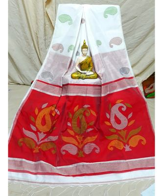 White Jamdani Work Cotton Silk Handloom Saree With Blouse