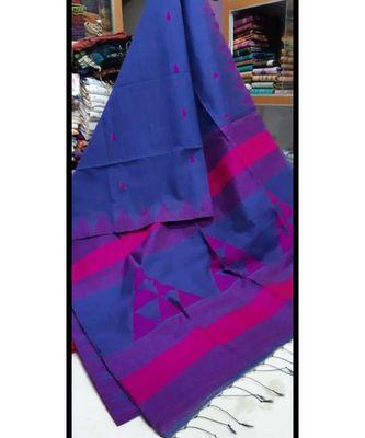 Blue Triangle Design Hand Weaven Cotton Silk Handloom Saree With Blouse