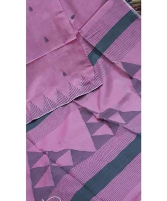 Purple Triangle Design Hand Weaven Cotton Silk Handloom Saree With Blouse