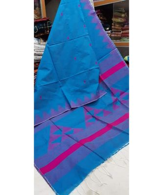 Turquoise Triangle Design Hand Weaven Cotton Silk Handloom Saree With Blouse