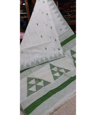 White Triangle Design Hand Weaven Cotton Silk Handloom Saree With Blouse
