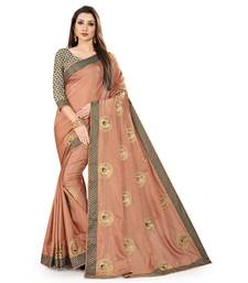 Peach coloured manipuri silk embroidered saree with jacquard lace and blouse