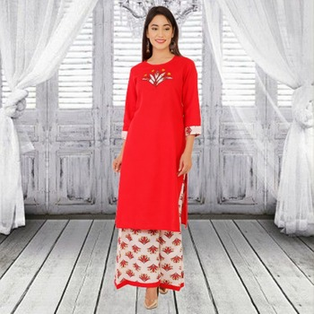 Red printed cotton kurtas-and-kurtis
