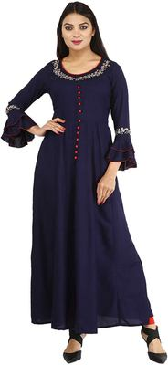 Dark-blue plain cotton kurtas-and-kurtis