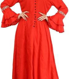 Red plain cotton kurtas-and-kurtis