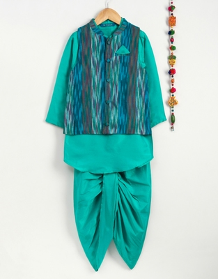 Blue art silk boys-dhoti-kurta with ikkat weave jacket