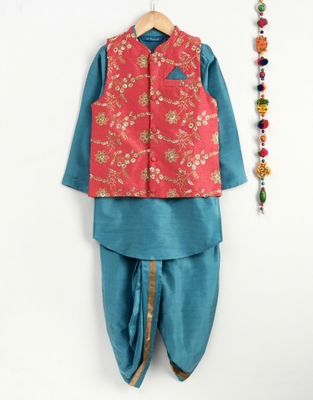Blue art silk boys-dhoti-kurta with embroidered jacket