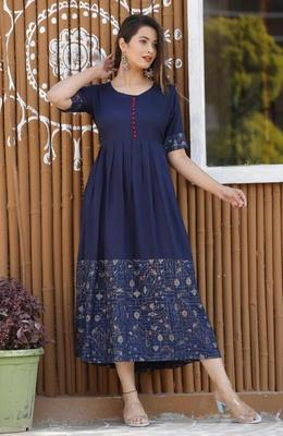 Navy-blue printed rayon kurtas-and-kurtis
