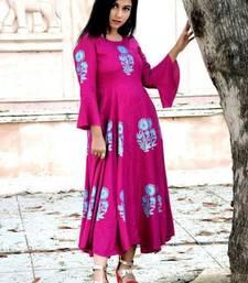 Rani-pink printed rayon kurtas-and-kurtis