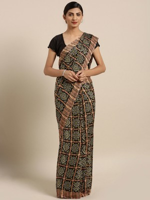 Traditional Designer Black Color Bandhani Silk Saree
