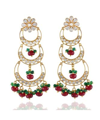 maroon green three step chand bali traditional chand bali earring