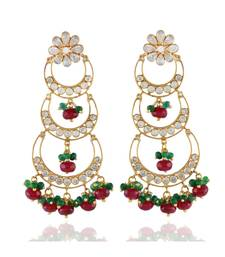 maroon green three step chand bali traditional chand bali earring