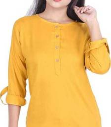 Yellow plain cotton tops